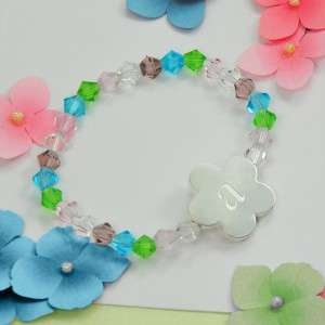Flower Girls Crystal Stretch Bracelet Engraved Initial