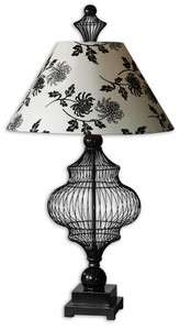 FRENCH COUNTRY Wire TABLE LAMP w/ Black White Floral Tapered Lampshade