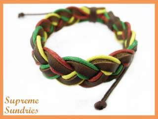 Rasta Reggae Marley Braided Hemp Surfer Leather Bracelet #4