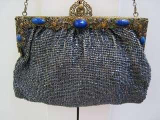 Ca 1880 Glass Beaded Purse with Jeweled Frame Czech Fancy Filigree