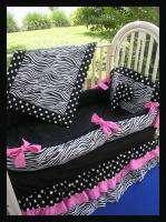 NEW crib bedding set GREEN BLACK ZEBRA POLKA DOTS