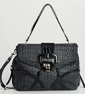 Satchel Handbag Purse Crossbody Croco Croc Black 885935089074