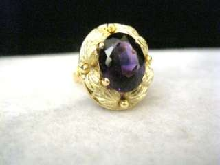 LARGE VINTAGE 18K YELLOW GOLD AMETHYST RING 4.5 CARAT AMETHYST
