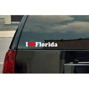I Love Florida Vinyl Decal   White with a red heart
