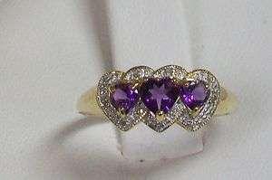 Gold Three Stone Heart Shape Amethyst and Diamond Halo Ring