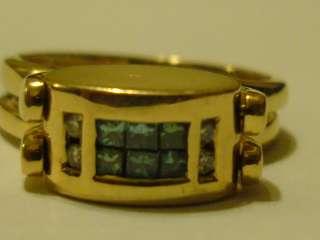 Opal Blue Princess Cut Diamond Reversible Ring 14k Yellow Gold Sz 7.5