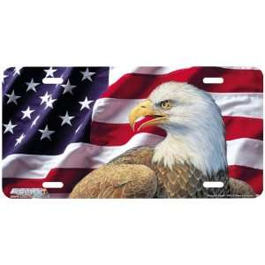 3433 Flag and Eagle Patriotic License Plate Car Auto Novelty Front