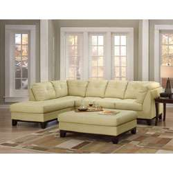 Tufted Leather Sectional Sofa and Large Ottoman