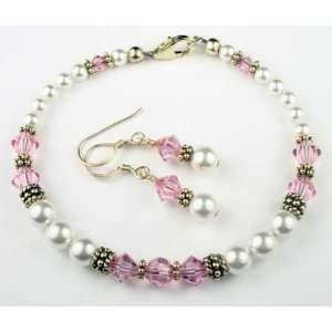 Gold Crystal Bracelet w/ Earrings in October Pink Tourmaline Swarovski