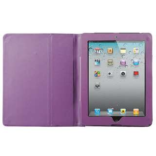 Purple Leather Case Cover Pouch Stand For Apple iPad 2
