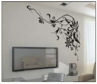 Design Fashion Art Decor Black Flower Wall Sticker Home Decoration