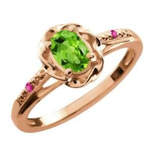 0.52 Ct Oval Green Peridot Pink Sapphire 18K Rose Gold