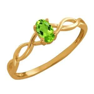 0.26 Ct Oval Green Peridot 18k Yellow Gold Ring Jewelry
