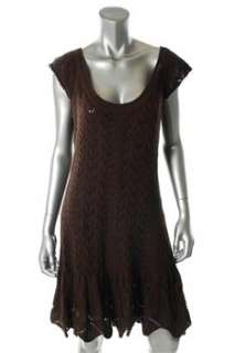 FAMOUS CATALOG Moda Brown Casual Dress Crochet Sale M