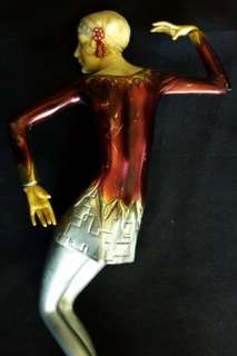 Art Deco Flapper Style Woman Statue Metal Composite & Stone 1920s 30s