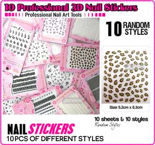 10 PCS MIX STYLE 3D NAIL ART STICKER TIP DECAL NAS110 D