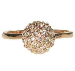 New ball swarovski crystal 18K rose gold GP ring promise engagement