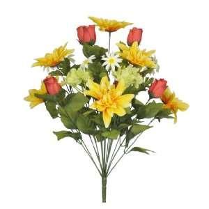 23 Yellow/Red/Green Dahlia/Rose Bud/Hydrangea Bush