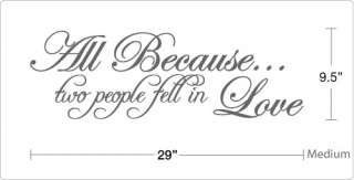 Because two people fell in Love   Vinyl Wall Art Quote Decal