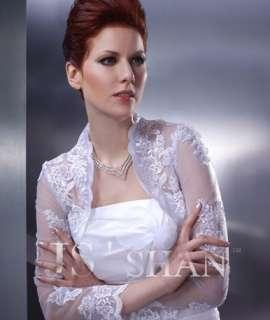 White/Ivory Wedding Long Sleeve Lace Wrap Jacket,MJ05