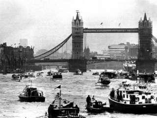 25th Jubilee Year Britannia and Flotilla Under Tower Bridge, Thames