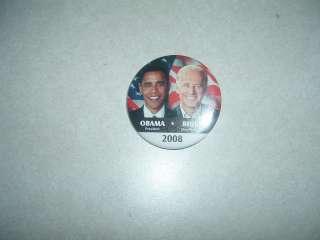 POLITICAL CAMPAIGN BUTTON BARACK OBAMA PRESIDENT JOE BIDEN 2008