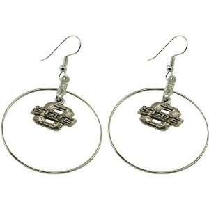Oklahoma State Cowboys Silver Charm Hoop Earrings Sports