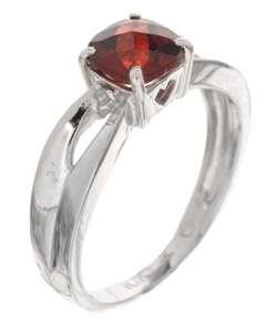 10k White Gold Diamond Garnet Ring