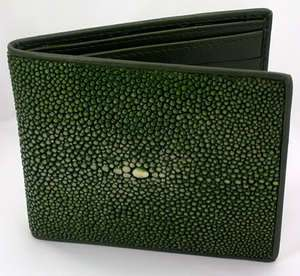 GREEN POLISHED GENUINE STINGRAY SKIN LEATHER MENS WALLET