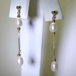 14k gold natural WHITE PEARL fancy dangle drop earrings