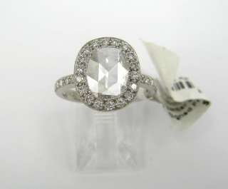 60ct Rose Cut Diamond Micro Pave Platinum Ring   New Old Stock