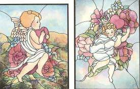 Angels & Cherubs Stained Glass Pattern Book, NEW PB 9780486401706