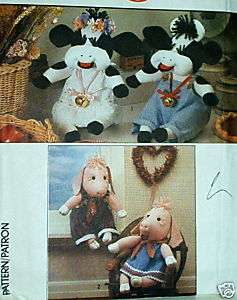 Cow Pig stuffed kitchen toy doll pattern 13 & clothes