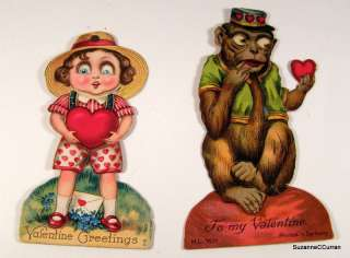 Antique Mechanical VALENTINE Card Two Set Monkey & Girl