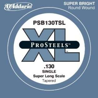 Addario PSB130TSL ProSteels Bass Guitar Single String, Super Long