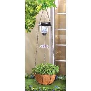 SOLAR LIGHT GARDEN HANGING PLANT FLOWER POT PLANTER BASKET NEW