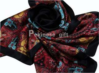 New Black Reds Maple Leaf Flowers Large Square 35 100% Silk Scarf