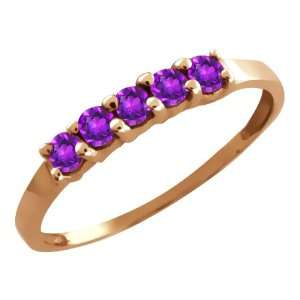 0.30 Ct Round Purple Amethyst 18k Rose Gold Ring Jewelry