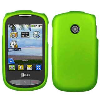 Tracfone LG 800G Net10 Green Rubberized Hard Case Cover +Screen