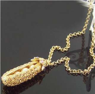 G4062 Gold Plated SWAROVSKI CRYSTAL Pearl Pea necklace