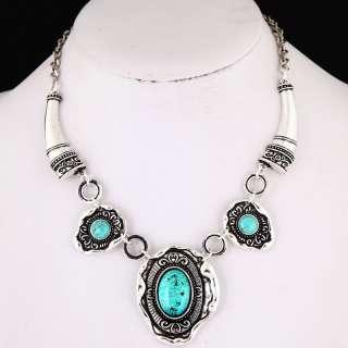 black Tibet silver turquoise gemstone bead necklace VTG