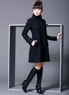 Womens Fashion Wool Cashmere Winter Noble Long TRENCH Coat 4 Color