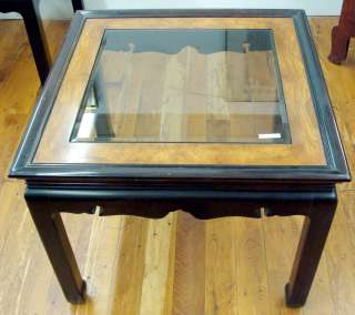Asian Oriental Style Beveled Glass Top End Table Rosewood