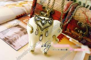 glass crystal white elephant retro bronze Necklace Pendant
