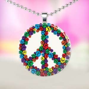 Print Peace Sign Handcrafted Glass Tile Necklace Pendant 867
