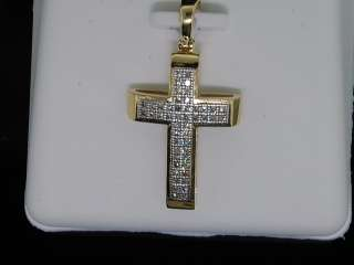 LADIES YELLOW GOLD DIAMOND CROSS JESUS CHARM PENDANT