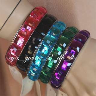 14 mm RHINESTONE bangle bracelet PINK BLACK BLUE GREEN PURPLE