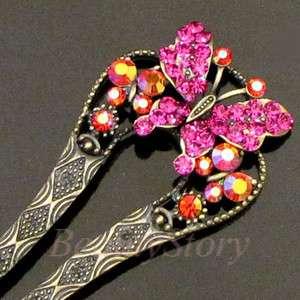 Item  1pc Austrian rhinestone crystal butterfly hair fork