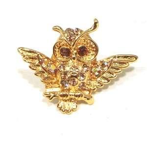 Yellow Topaz Color Austrian Rhinestone Owl Bird Designed Gold Tone Tac