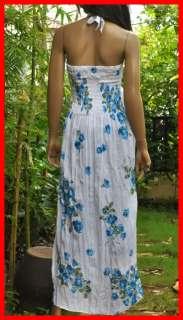 Coconut Summer halter Boho beach flower long sundress white&blue S M L